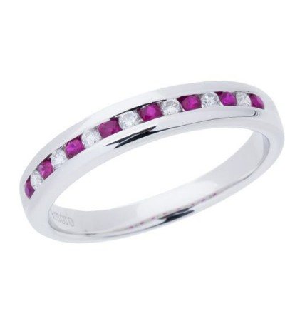 Rings - 0.28 Carat Round Cut Ruby and Diamond Band 18Kt White Gold