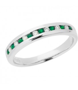 More about 0.28 Carat Round Cut Emerald and Diamond Band 18Kt White Gold