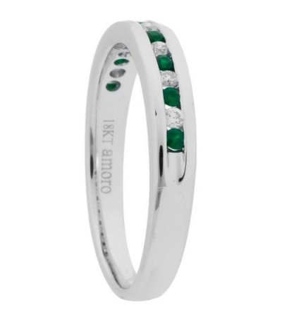0.28 Carat Round Cut Emerald and Diamond Band 18Kt White Gold