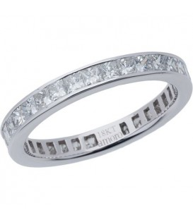Rings - 1.55 Carat Princess Cut Diamond Eternity Band 18Kt White Gold