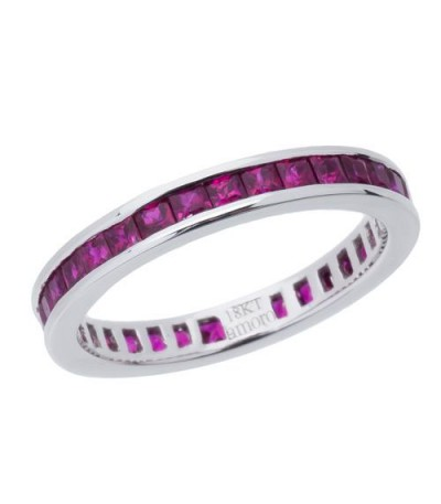 Rings - 2.25 Carat Square Cut Ruby Eternity Band 18Kt White Gold