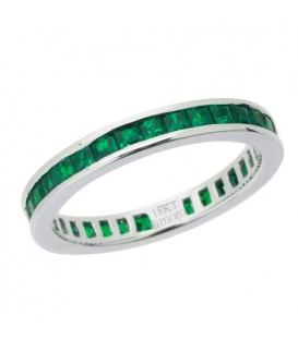 2.00 Carat Square Cut Emerald Eternity Band 18Kt White Gold