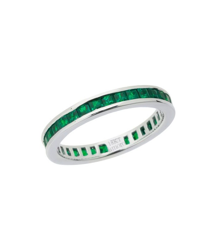 white cut emerald anniversary ring diamond gold eternity bands band