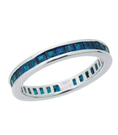 Rings - 2.25 Carat Square Cut Sapphire Eternity Band 18Kt White Gold