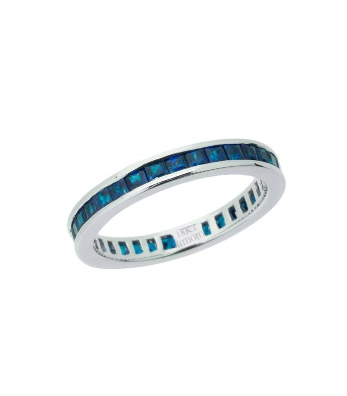 Sapphire And Diamond Eternity Band In Kt White Gold