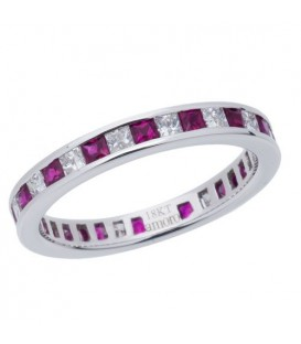 1.67 Carat Square Cut Ruby and Diamond Eternity Band 18Kt White Gold