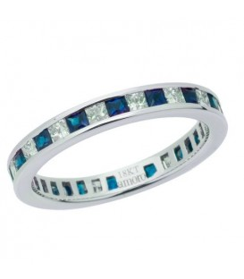 Rings - 1.67 Carat Square Cut Sapphire and Diamond Eternity Band 18Kt White Gold