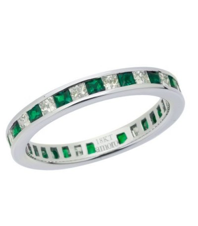 Rings - 1.57 Carat Square Cut Emerald and Diamond Eternity Band 18Kt White Gold
