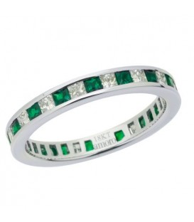 1.67 Carat Square Cut Emerald and Diamond Eternity Band 18Kt White Gold