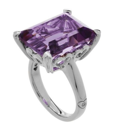 Rings - 10 Carat Emerald Cut Amethyst Ring Sterling Silver