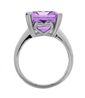 10 Carat Emerald Cut Amethyst Ring Sterling Silver