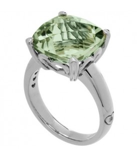 Rings - 7 Carat Cushion Cut Praseolite Ring Sterling Silver