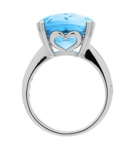 8.10 Carat Cushion Cut Blue Topaz Ring Sterling Silver