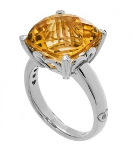 Rings - 5.75 Carat Cushion Cut Citrine Ring Sterling Silver