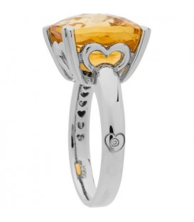 5.75 Carat Cushion Cut Citrine Ring Sterling Silver