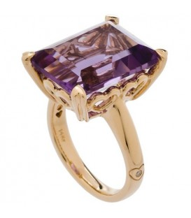 Rings - 10 Carat OCtagonal Step Cut Amethyst Ring 14Kt Yellow Gold