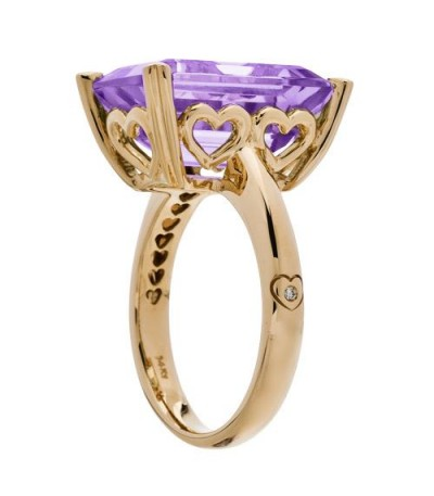 10 Carat Octagonal Step Cut Amethyst Ring 14Kt Yellow Gold
