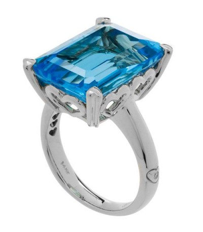 Rings - 13 Carat OCtagonal Step Cut Blue Topaz Ring 14Kt White Gold