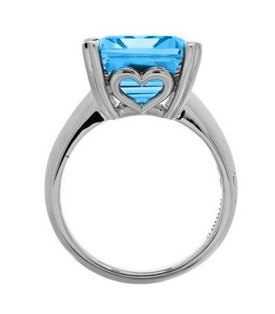 13 Carat Octagonal Step Cut Blue Topaz Ring 14Kt White Gold