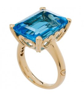 13 Carat Octagonal Step Cut Blue Topaz Ring 14Kt Yellow Gold