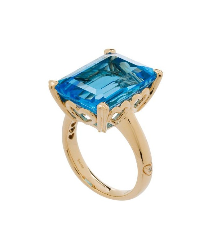 Octagonal Step Cut 13ct Blue Topaz Ring 14kt Yellow Amoro