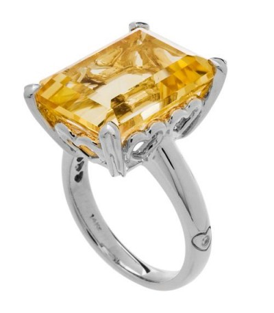 Rings - 10 Carat OCtagonal Step Cut Citrine Ring 14Kt White Gold