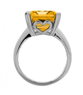 10 Carat Octagonal Step Cut Citrine Ring 14Kt White Gold