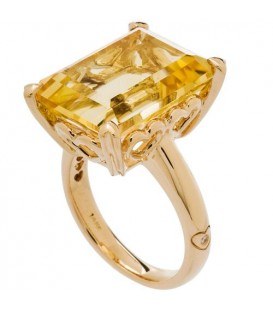 10 Carat Octagonal Step Cut Citrine Ring 14Kt Yellow Gold