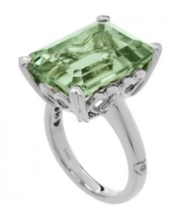 Rings - 10 Carat OCtagonal Step Cut Praseolite Ring 14Kt White Gold
