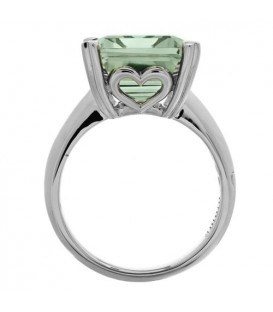 10 Carat Octagonal Step Cut Praseolite Ring 14Kt White Gold