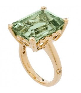 Rings - 10 Carat OCtagonal Step Cut Praseolite Ring 14Kt Yellow Gold