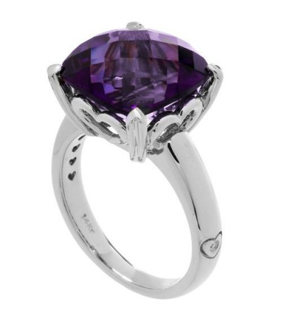 Rings - 7 Carat Cushion Cut Amethyst Ring 14Kt White Gold