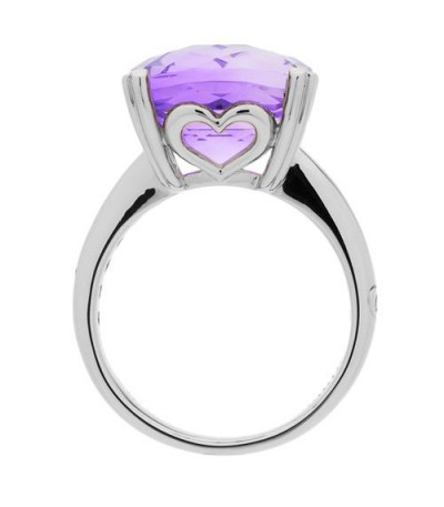 7 Carat Cushion Cut Amethyst Ring 14Kt White Gold