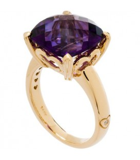 Rings - 7 Carat Cushion Cut Amethyst Ring 14Kt Yellow Gold