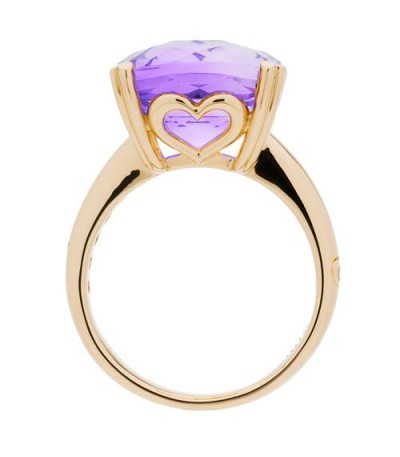 7 Carat Cushion Cut Amethyst Ring 14Kt Yellow Gold