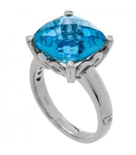 8.10 Carat Cushion Cut Blue Topaz Ring 14Kt White Gold