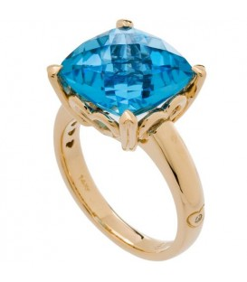 Rings - 8 Carat Cushion Cut Blue Topaz Ring 14Kt Yellow Gold