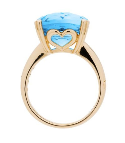 8.10 Carat Cushion Cut Blue Topaz Ring 14Kt Yellow Gold