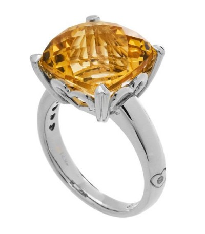 Rings - 5.75 Carat Cushion Cut Citrine Ring 14Kt White Gold