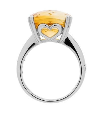 5.75 Carat Cushion Cut Citrine Ring 14Kt White Gold