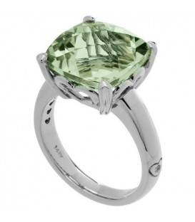 Rings - 7 Carat Cushion Cut Praseolite Ring 14Kt White Gold