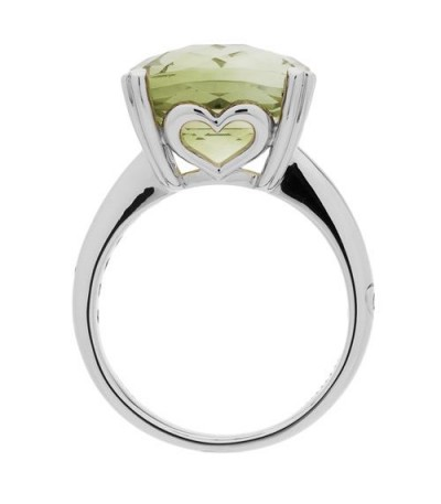 7 Carat Cushion Cut Praseolite Ring 14Kt White Gold
