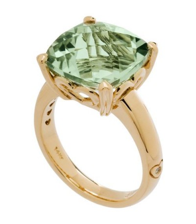 Rings - 7 Carat Cushion Cut Praseolite Ring 14Kt Yellow Gold