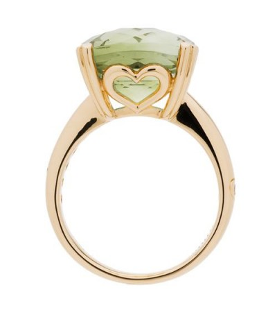 7 Carat Cushion Cut Praseolite Ring 14Kt Yellow Gold