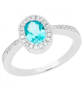 Rings - 0.84 Carat Oval Cut Aquamarine and Diamond Ring 14 Kt White Gold
