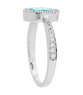 0.93 Carat Oval Cut Aquamarine and Diamond Ring 14 Kt White Gold