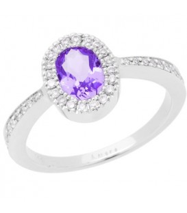 Rings - 0.80 Carat Oval Cut Amethyst and Diamond Ring 14Kt White Gold