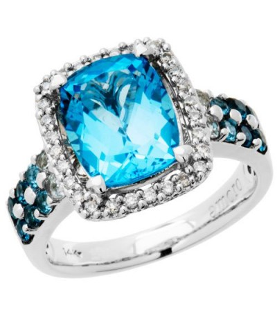 Rings - 4.33 Carat Cushion Cut Blue Topaz and Diamond Ring 14Kt White Gold