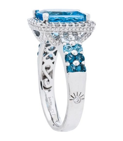 4.33 Carat Cushion Cut Blue Topaz and Diamond Ring 14Kt White Gold