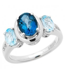 Rings - 2.53 Carat Oval Cut Blue Topaz and Diamond Ring 14Kt White Gold